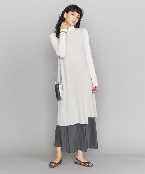 ロングワンピース×マーメイドサテンスカート