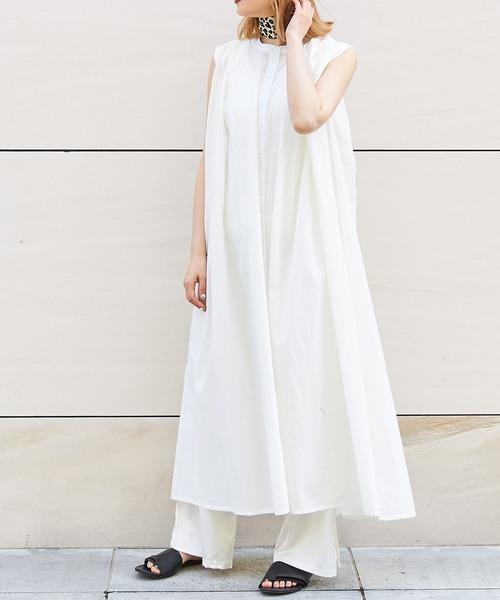[Bonjour Sagan] india ふんわり軽いインド綿を使用したノースリギャザーワンピース