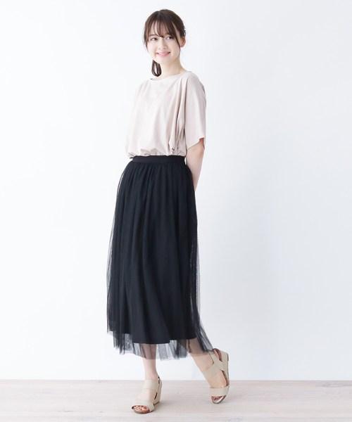 SHOO・LA・RUE ギャザーフレアチュールスカート