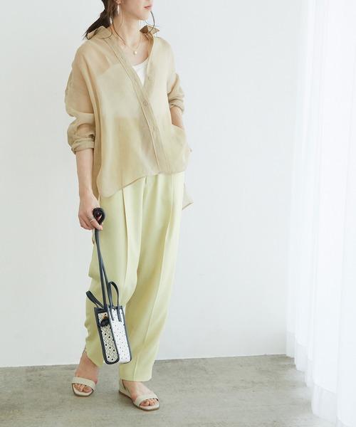 [ROPE'] 【洗える】ソフトオーガンジーギャザーシアーシャツ