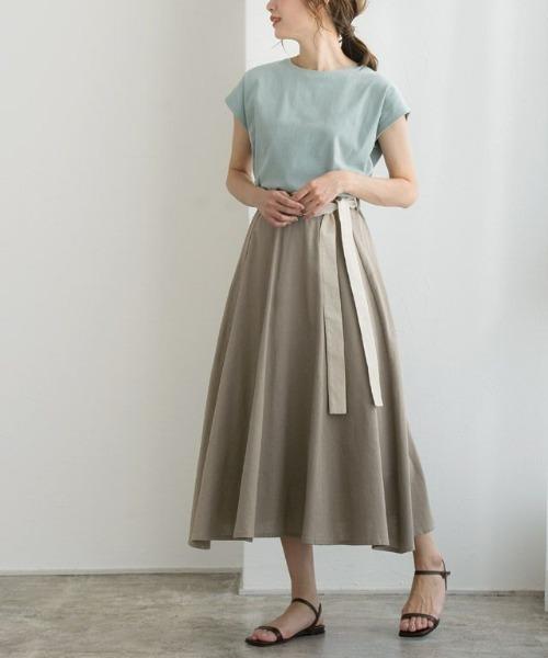 麻混配色ベルトフレアスカート