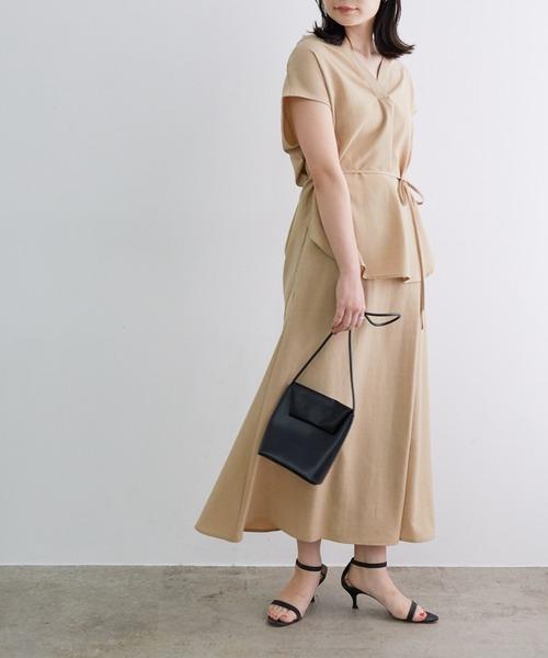 [ADAM ET ROPE'] 【一部店舗限定】リネンライクラップ風スカート