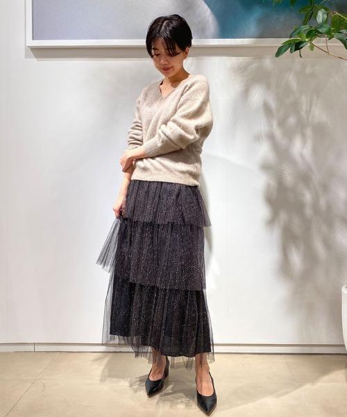 [ESTNATION] ESTNATION / ラメチュールティアードロングスカート