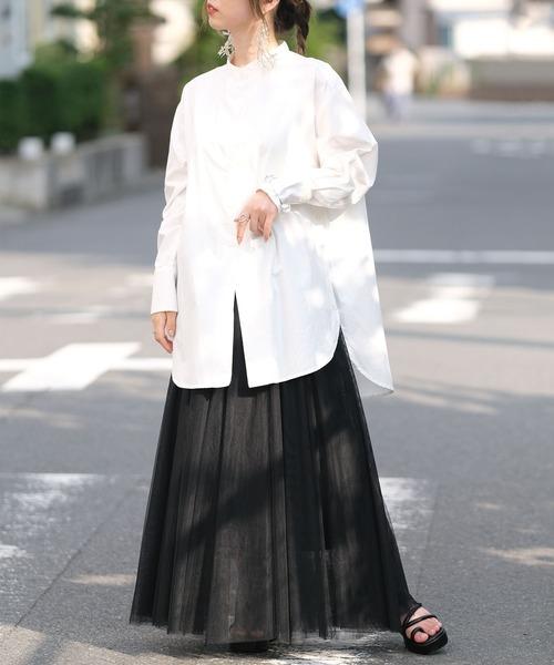 [ANDJ] チュールフレアロングスカート