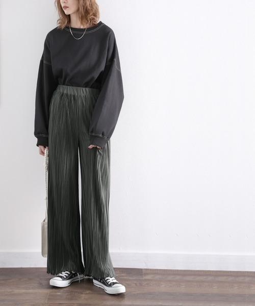 [Classical Elf] 裾メロー無地ワイドプリーツパンツ(フルレングス)