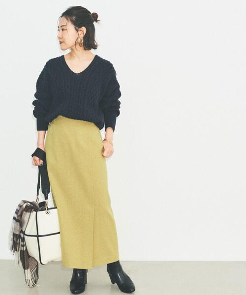 [green label relaxing] ◆SC フラノ ロング タイト スカート