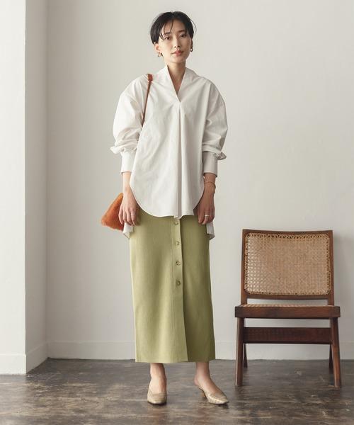 [ADAM ET ROPE'] 【INもOUTも】【一部WEB限定】【セットアップ対応】タック編みニットタイトスカート
