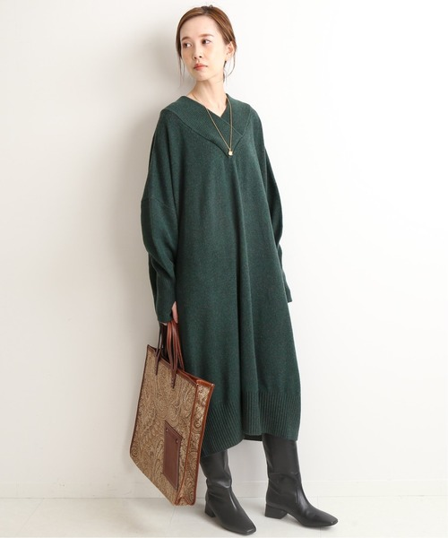 [IENA] 【ADAWAS/アダワス】CASHMERE BLENDED ワンピース◆7