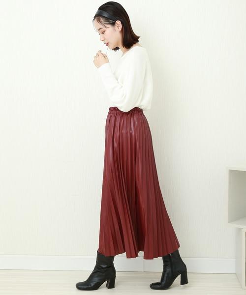 [MARLENE JOBERT] フェイクレザー アコーディオンプリーツスカート