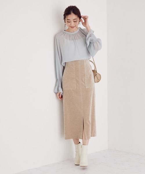 [ROPE'] 【スタイルアップ】【4サイズ展開】ハイウエストタイトスカート