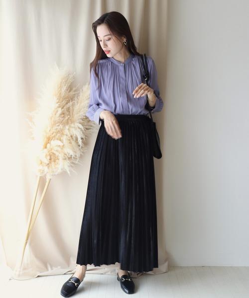 [BLUEEAST] ベロアロングプリーツスカート
