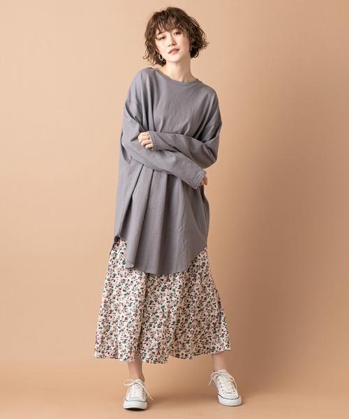 [un dix cors] 【女性らしい華やかな印象に】ダスティフラワーフレアスカート(ウエストゴム
