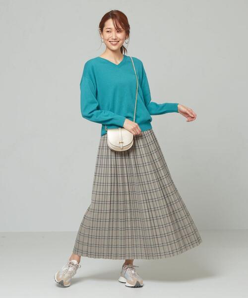[green label relaxing] <LE GLAZIC>●チェックプリーツ ロング スカート