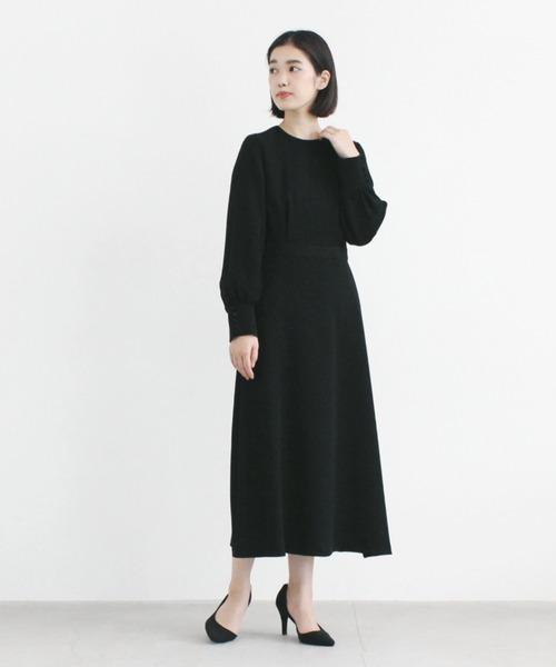 [kaene] シンプルロングスリーブワンピース[ブラックフォーマル対応]