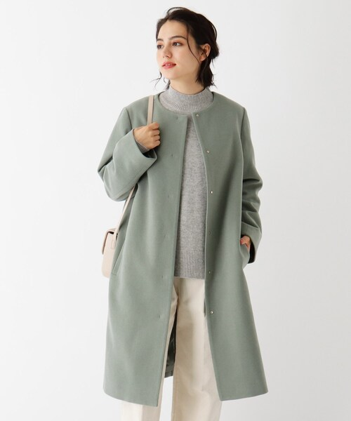 Lux-Veil wool mix ノーカラーロングコート