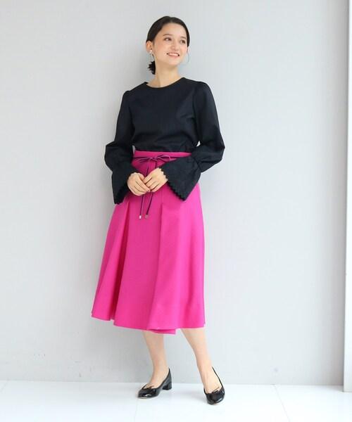 [anatelier] 【SS-Lサイズあり】リボンベルト付きタックフレアースカート