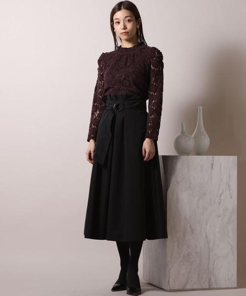 ketty online store ベルト付きフレアスカート