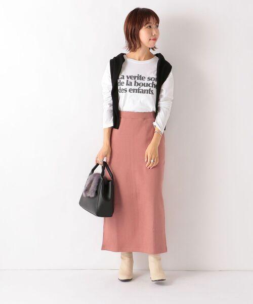 [SHIPS for women] SHIPS any: ダブルフェイスストレートスカート