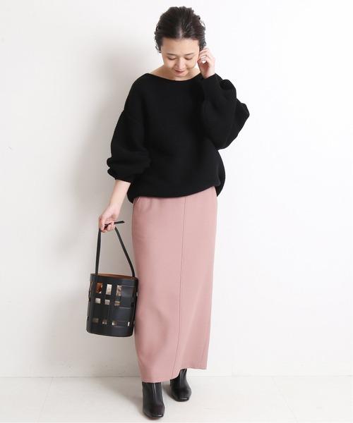 [IENA] ウール混ツイルロングタイトスカート【手洗い可能】