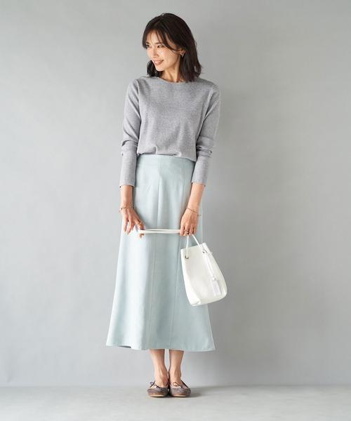 [RIVE DROITE] 柔らかな風合いが女性らしい エコスウェード8枚ハギスカート (無地)