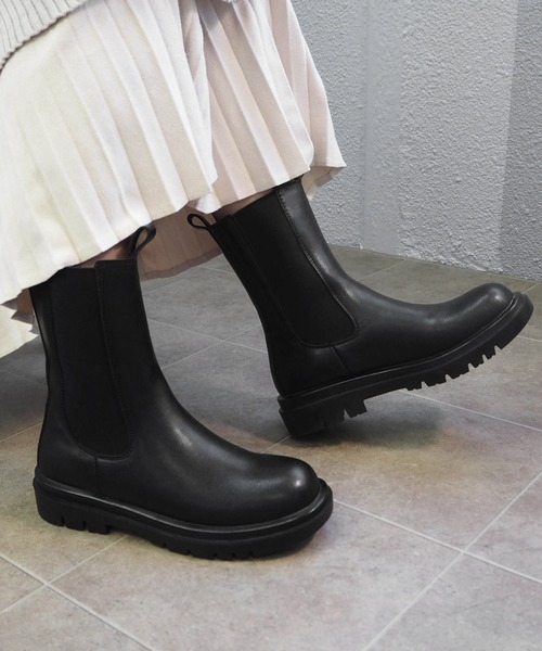 minia] ラギットソールチェルシーブーツ/厚底サイドゴアミドルブーツ