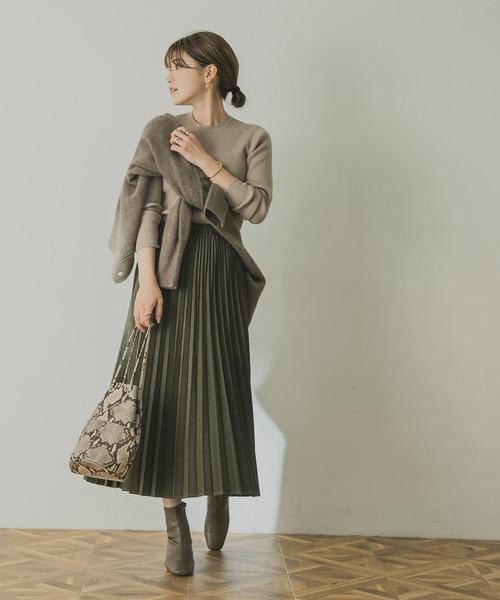 スウェードタッチプリーツスカート