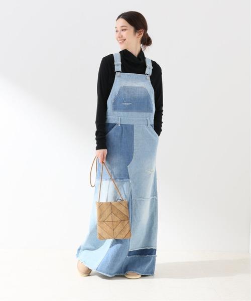 [Spick & Span] パッチワークデニムオーバーオールスカート◆