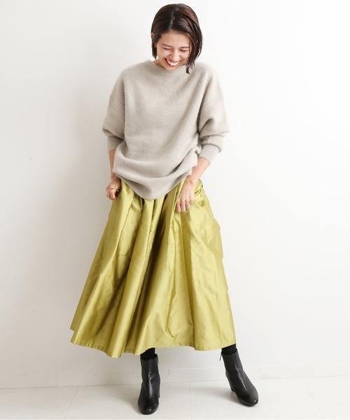 [IENA] AIDAタフタギャザースカート◆