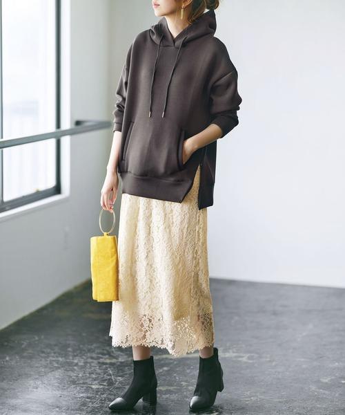 フラワーレースロングスカート
