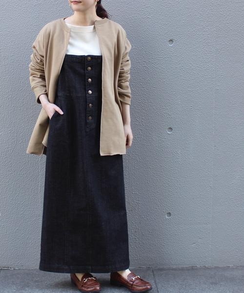 [洗える]10.5oz デニムオールインスカート【小さいサイズ/大きいサイズ対応】