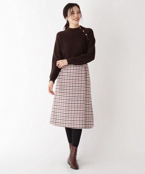 [SOUP] 【大きいサイズあり・13号】千鳥ミモレラップスカート