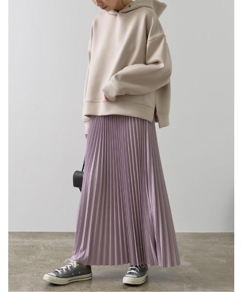 [高橋ユウさん着用][低身長向けSサイズ有]フェイクスウェードプリーツロングスカート