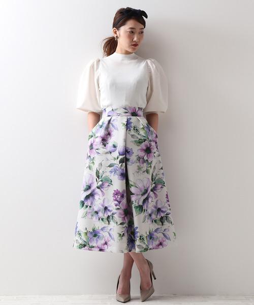 [TIARA] グログラン大きな花柄プリントフレアスカート