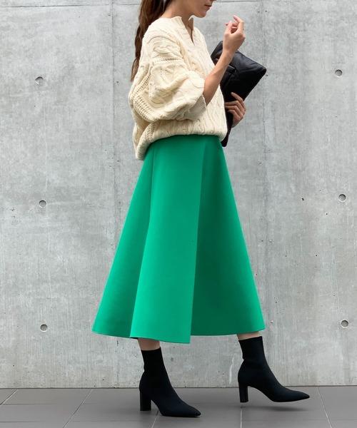 [GIRL] ボンディングボリュームフレアロングスカート