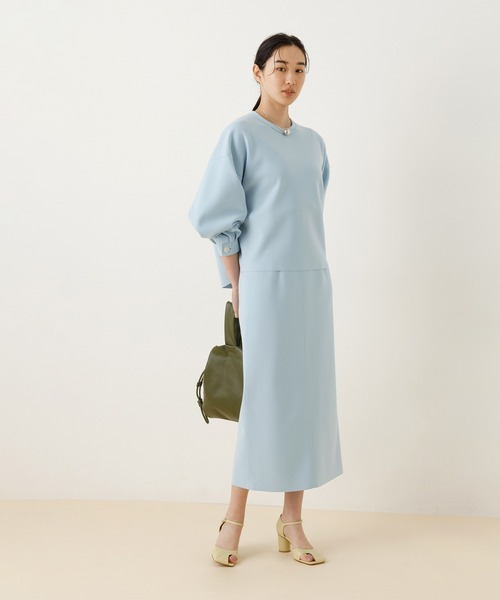 [ADAM ET ROPE'] ニットジョーゼットボンディングスカート