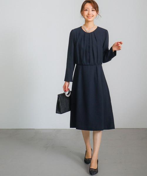 [Fashion Letter] タックレース ウエスト切替ワンピース /入学式などのマザーニーズに ママドレス
