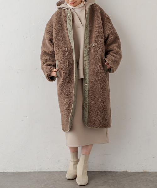 [natural couture] キルトボアリバーシブルコート