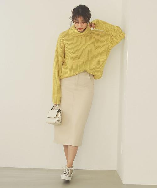[kobelettuce] バックスリットエコレザータイトスカート