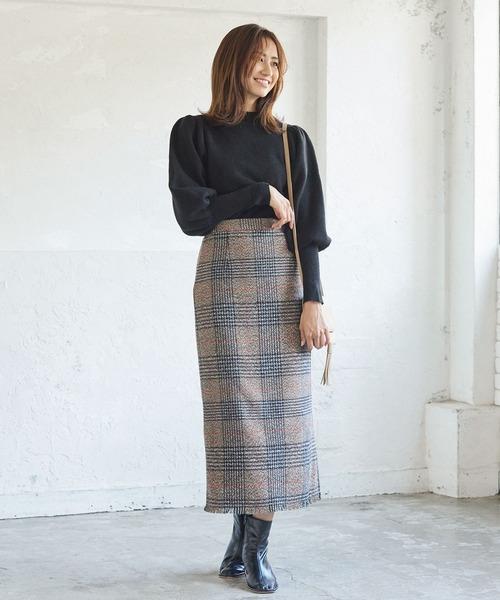 フリンジチェックバックスリットタイトスカート
