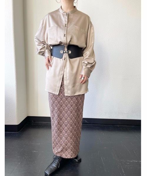 [Auntie Rosa] レザータッチダブルボタンダブルポケットシャツ