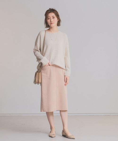 [Abahouse Devinette] 【春新色登場】ecru スエードタイトスカート(裏付き)