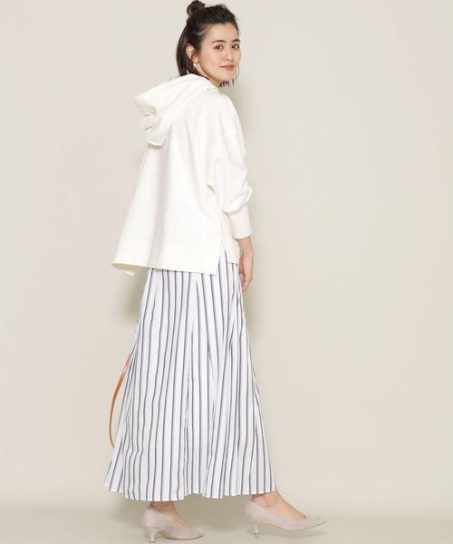 ストライプフレアロングスカート