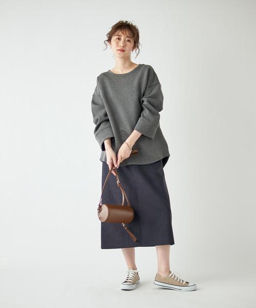 [RIVE DROITE] 定番人気エコスエード エコスウェードセミストレートスカート(無地)