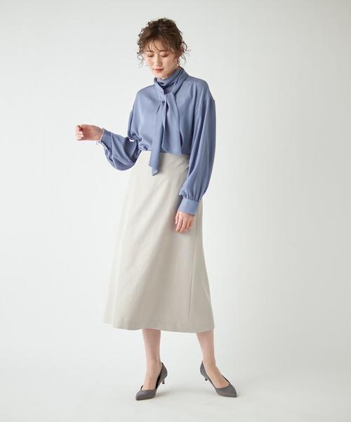 [RIVE DROITE] 上品なシルエットが手に入る パウダリーポプリンAラインスカート (無地)