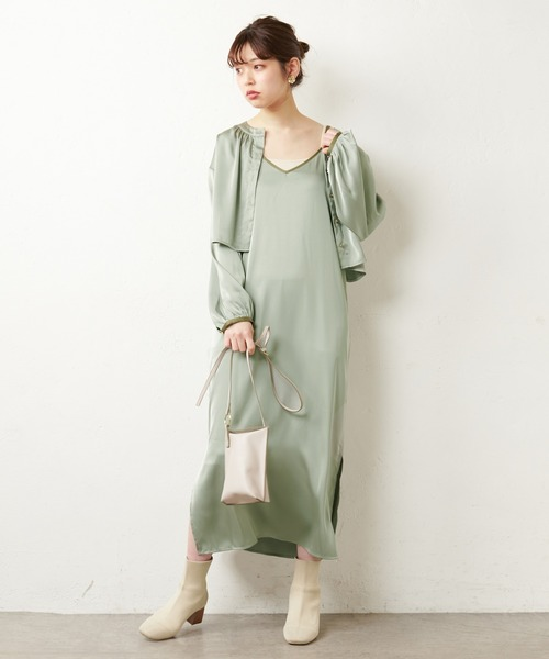 [natural couture] 【WEB限定】パイピングブラウス+キャミワンピース