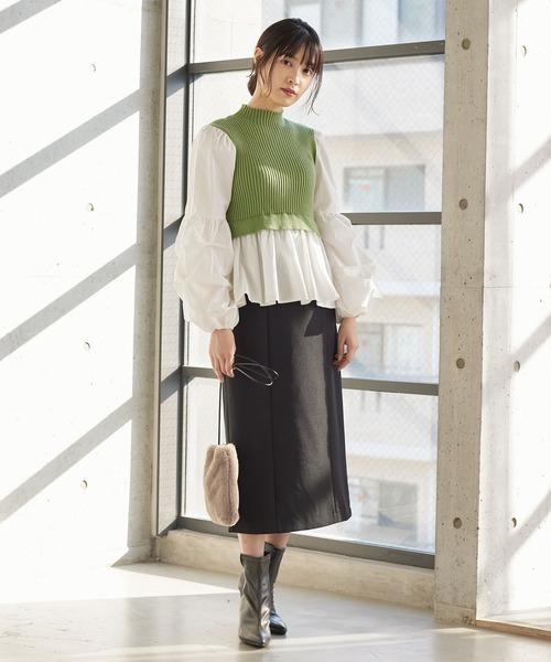 ウエストベルトバックスリットロングタイトスカート