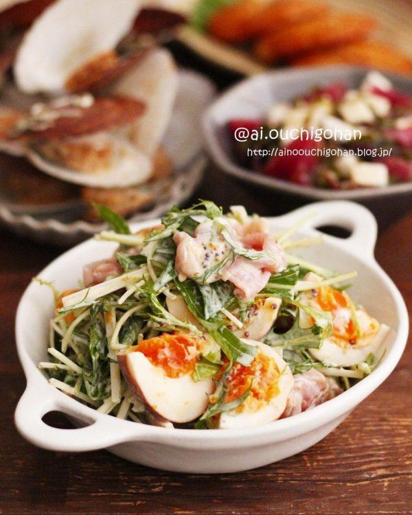 人気!水菜とハムのマヨマスタードサラダ