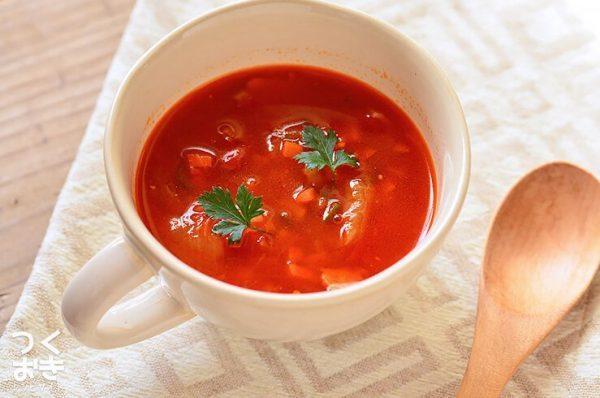 アレンジレシピ!お湯をそそぐだけ簡単トマトスープ
