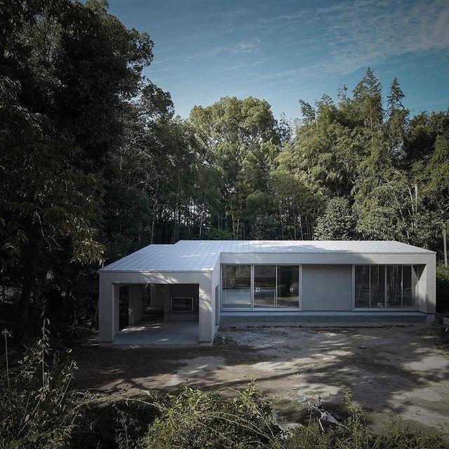 森の中に佇む和モダンな外観住居