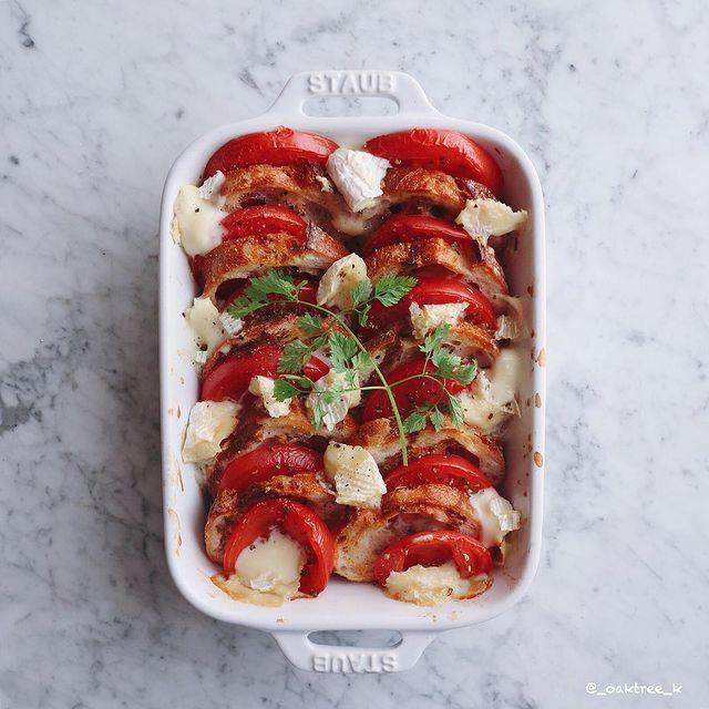 トマトとバゲットのオーブン焼